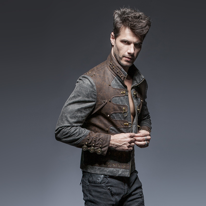 Y-646 Steam Punk Man Zipped Stand-up Collar Leather Short Jackets