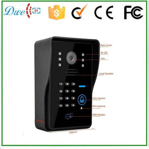 7 Inch Wired Video Door Phone Supports ID Keypad and Remote Control