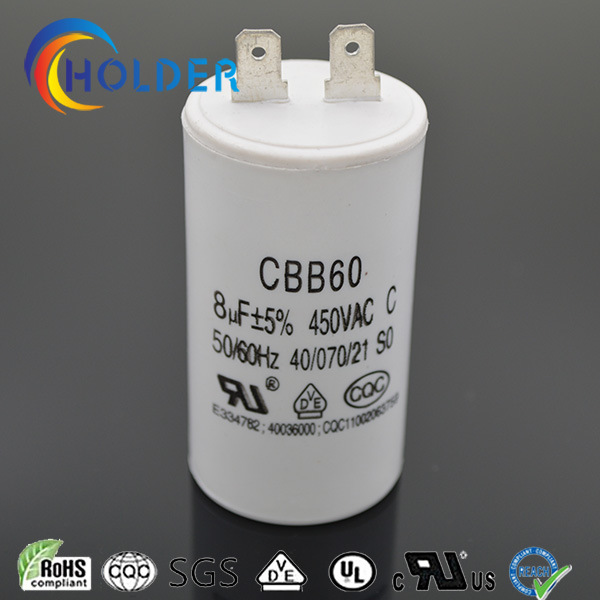 Cbb60 805j 450VAC AC Motor Run and Start Capacitor with 2 Pins High Voltage Ce/UL/VDE/RoHS/CQC (CBB60 All Series) Wholesale Factory