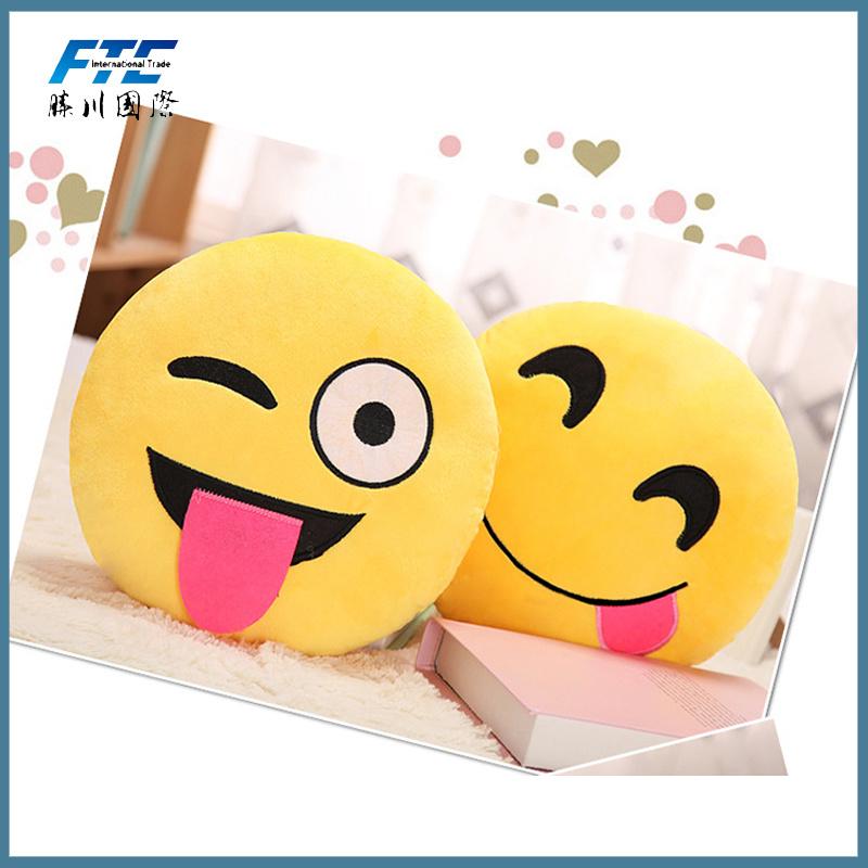 Comfortable Polyester Plush Decorative Emoji Pillows in Yellow