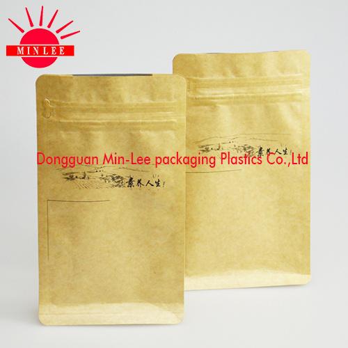 Kraft Flat Bottom Ziplock Bag Aluminium Foil Bag for Coffee/Food Packaging