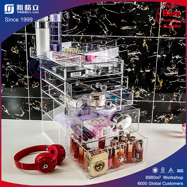 Clear Acrylic Cosmetic Organizer, Lucite Makeup 5 Drawer Box,