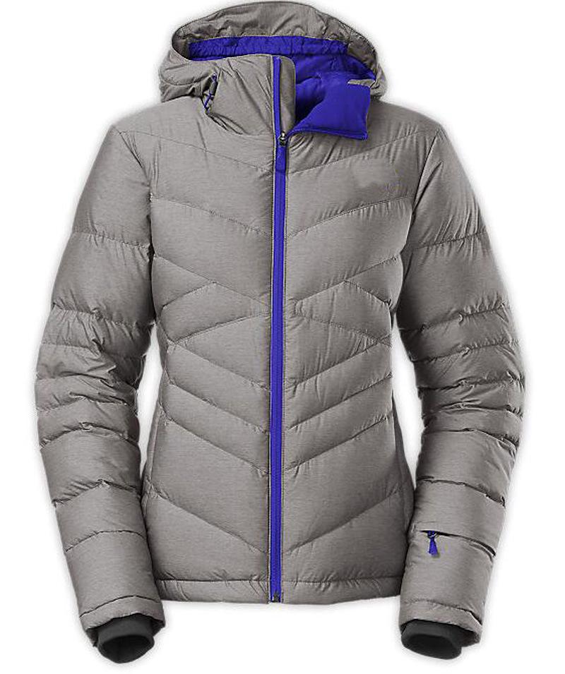 Women′s Latest Design Contrast Colour Zipper Down Ski Jacket