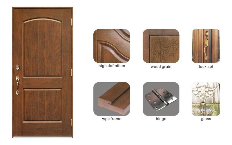 High End Wood Look Classic Hand Made Fiberglass Front Door