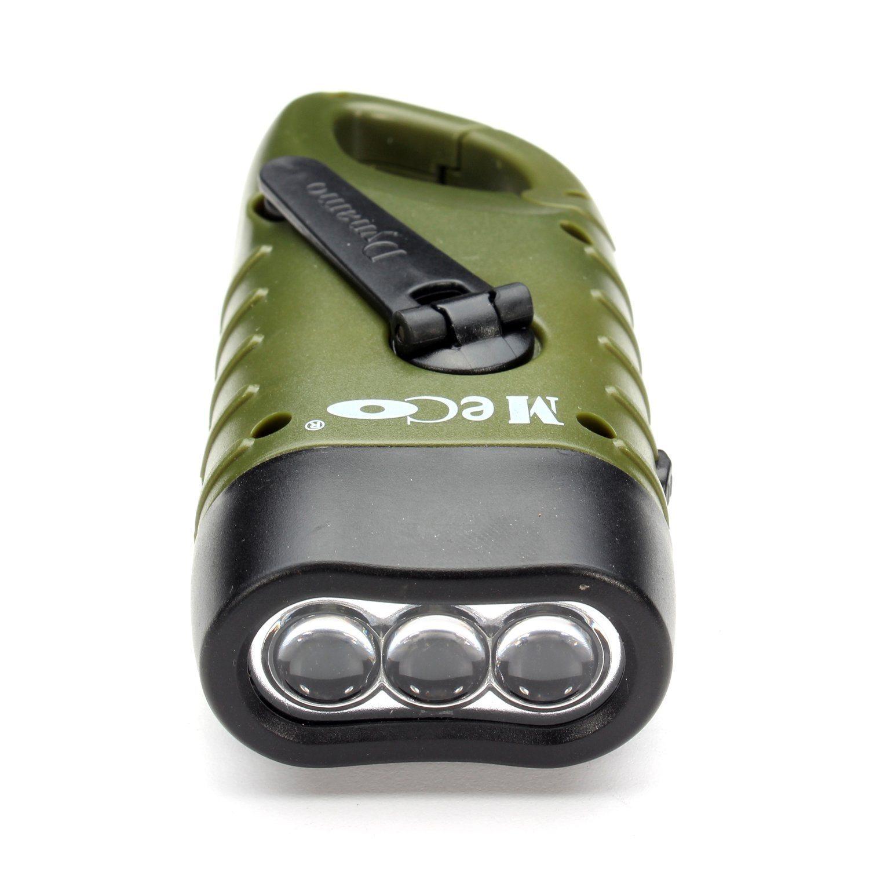 3 LED Solar Power Hand Crank Dynamo Torch Charger Emergency Flashlight
