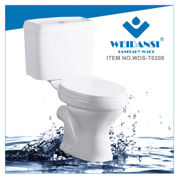 Weidansi Ceramic Wash Down P-Trap Two Pieces Toilet (WDS-T6208)