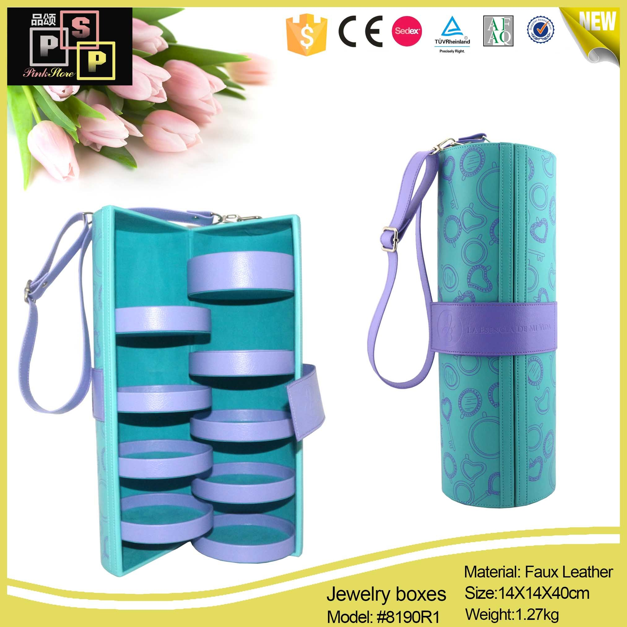 Wholesale Storage Round Tube Leather Gift Jewelry Box (8190)