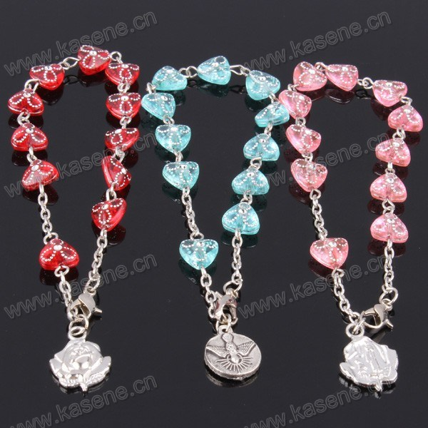 Wholesale Many Colour Round Plastic Rosary Bracelet with Saint Pendant