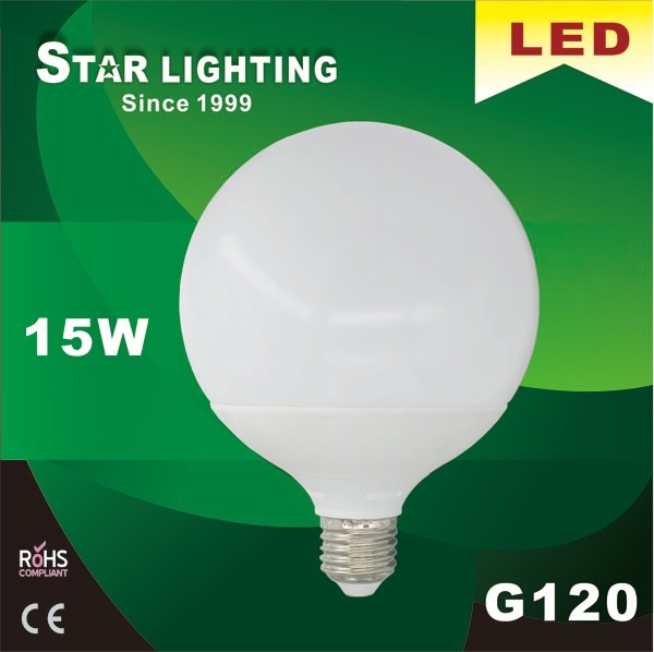 Large Global G120 Aluminum Plastic 15W LED Bulb