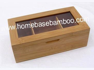Bamboo Tea Box Organizer Storage Hb303
