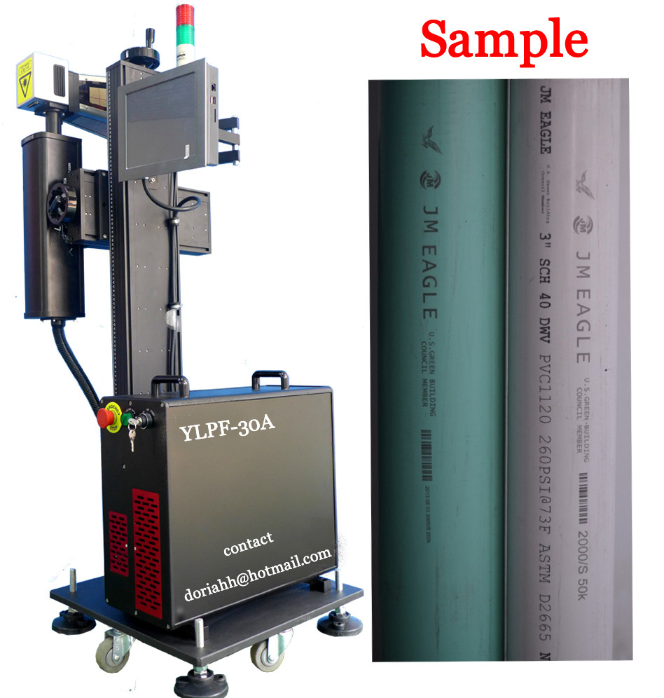 30W Ylpf-30b Fiber Laser Marking Machine for PP/PVC/PE/HDPE Plastic Pipe