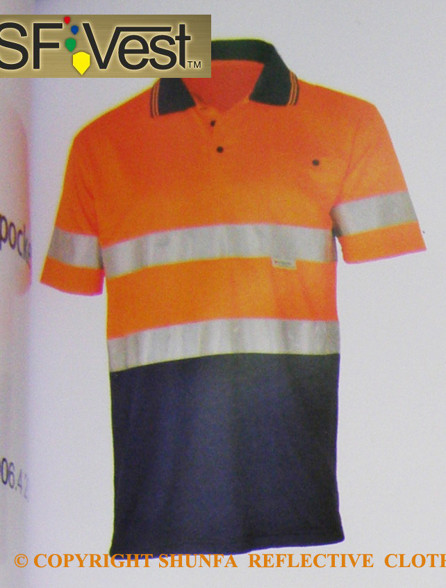 China hi visibility short sleeve polo shirt with chest for Hi vis polo shirts with pocket