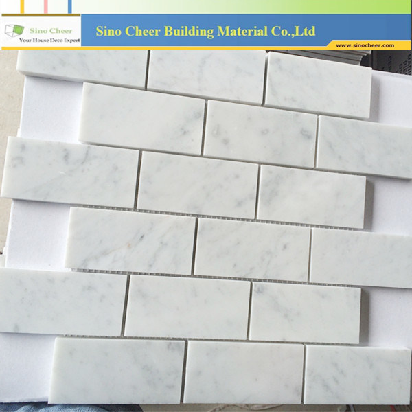 Best Sell Brick Shaped Nature Stone Marble Carrara White Mosaic Tile for Wall