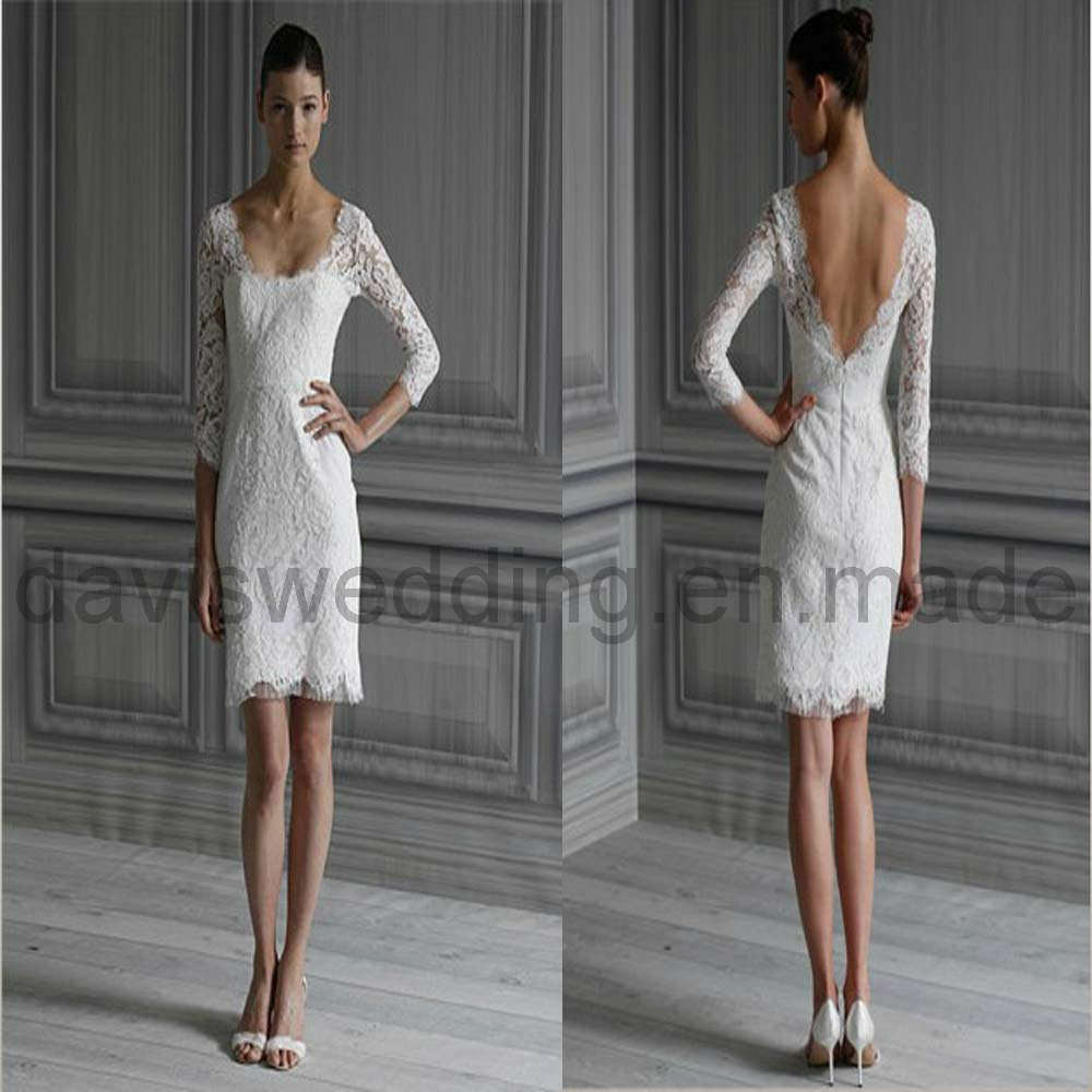 Wedding trend ideas lace short wedding dress for Long sleeve dresses to wear to a wedding