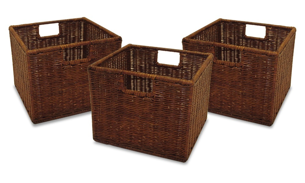 Well Furnir T-035 Household Storage Wicker PE Baskets with 2 Handle Easy Portable