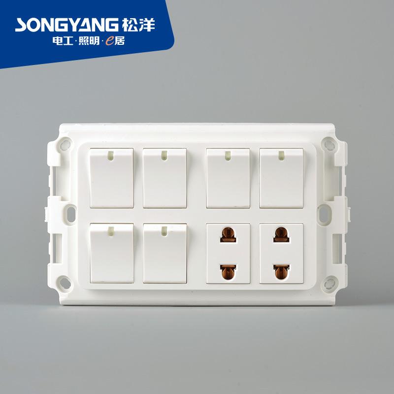Flame Retardant PC Plastic 6gang+2socket Switch