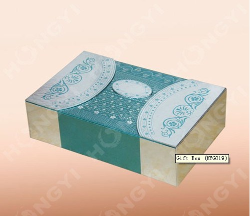 Green/Gloden Kart Paper Decorative Gift Box for Perfume Packaging (HYG019)