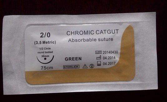 Surgical Suture Chromic Catgut, Absorbable Sutures