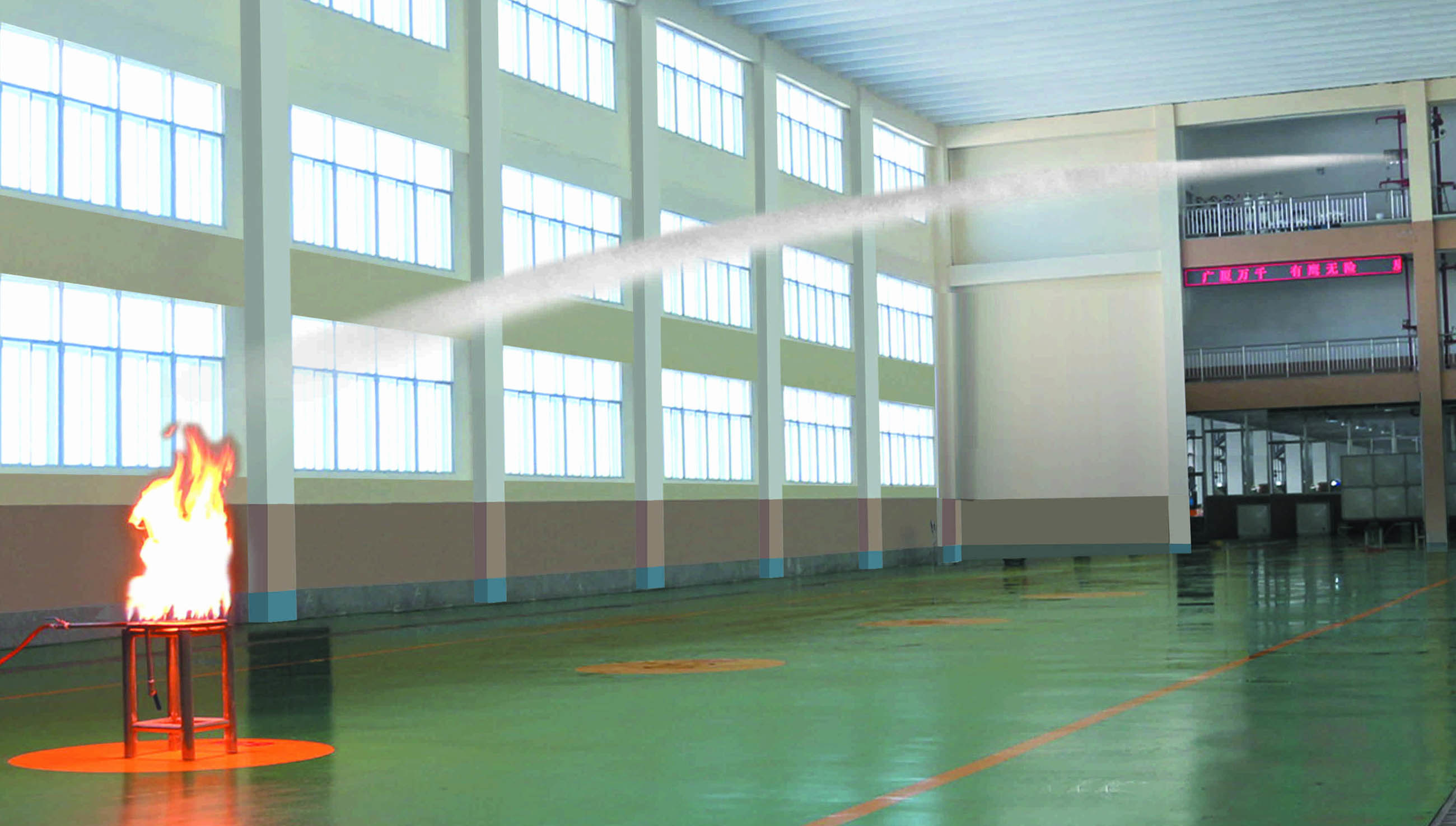 Large Space Automatic Searching Infrared Water Spraying Fire Extinguishing System