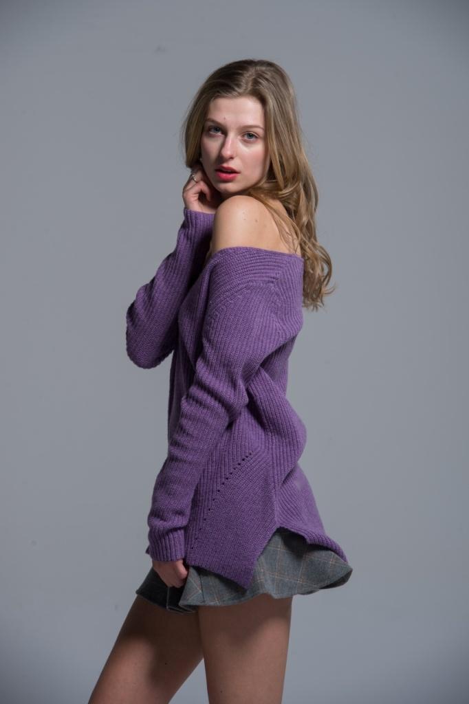 Ladies 100% Cotton Plain Color Fashionable Sweaters Standard Sizes
