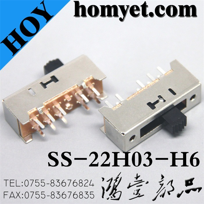 White Color Push Button Switch/10pin Power Slide Switch (SS-22H03-H6)