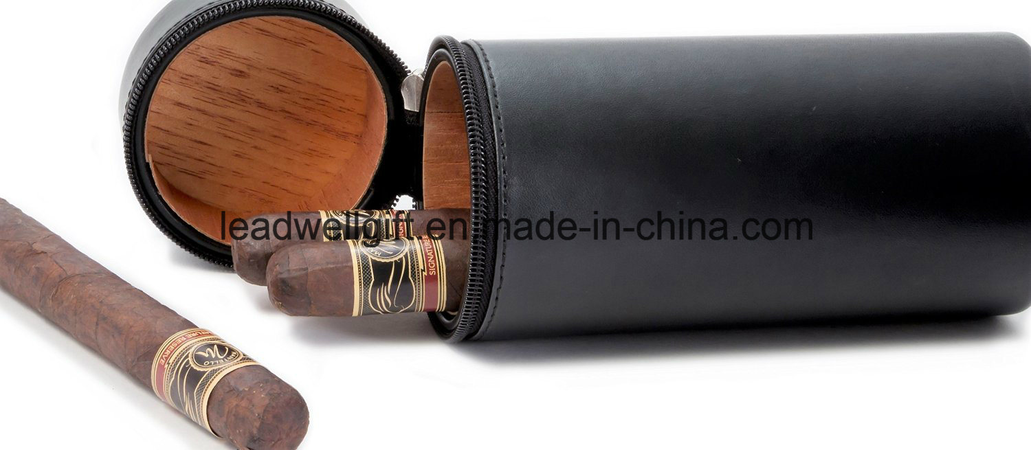 Leather Cedar Wood Lined Travel Cigar Case Humidor