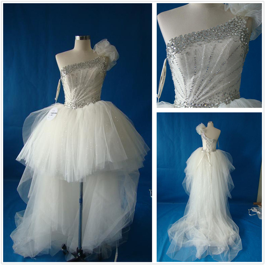 China front short and long back wedding dress t10554 for T back wedding dress