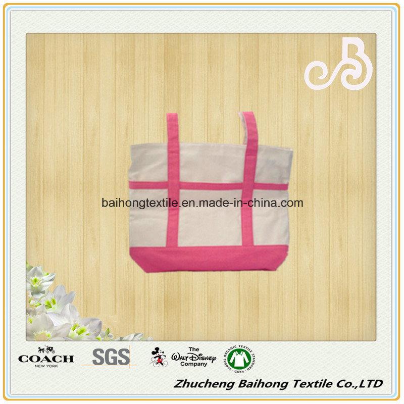 Contrast Color Simple Style Cotton Canvas Shopping Bag