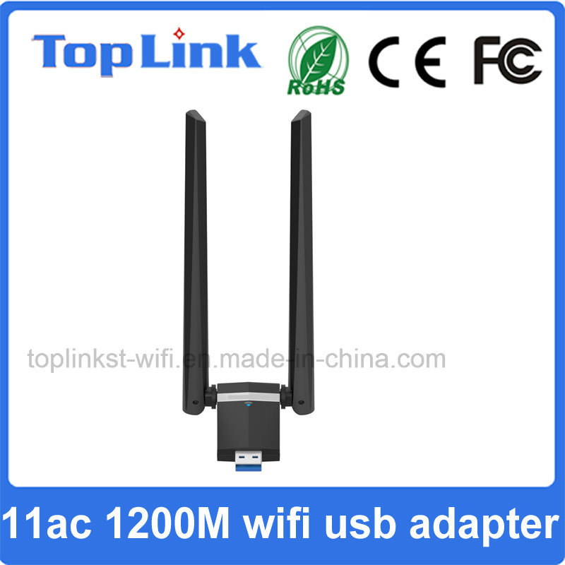 802.11AC 2T2R 1200Mbps High Speed USB 3.0 Wireless WiFi Adapter with External Antenna for Transmitter and Receiver