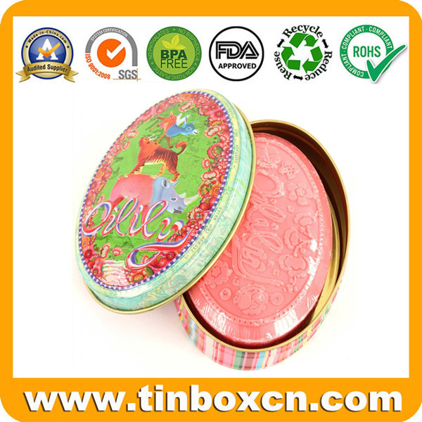 Oval Gift Soap Tin Box for Cosmetic Metal Tin Packaging