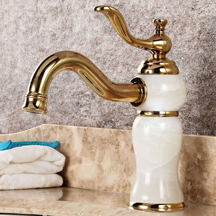 FLG Jade and Gold Painting Single Handle Bathroom Basin Mixer