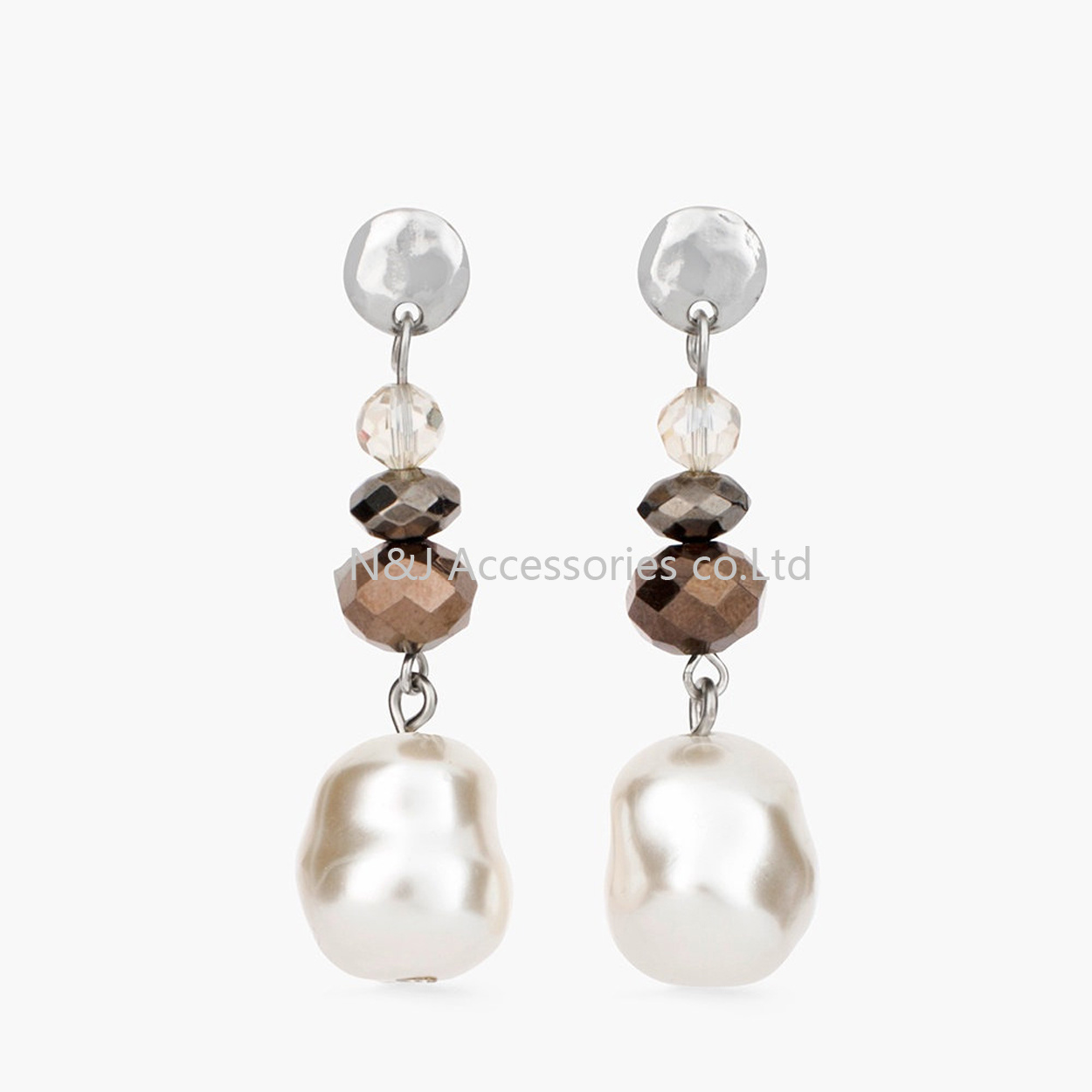 Fashion Jewelry White Pearl & Crystal 2017 New Statement Silver Plated Drop Earrings for Women