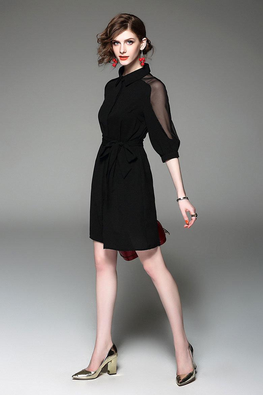 Customize Pure Color Lapel Ol Business Dress of Black Chiffon Shirt Skirt Dress Shirt