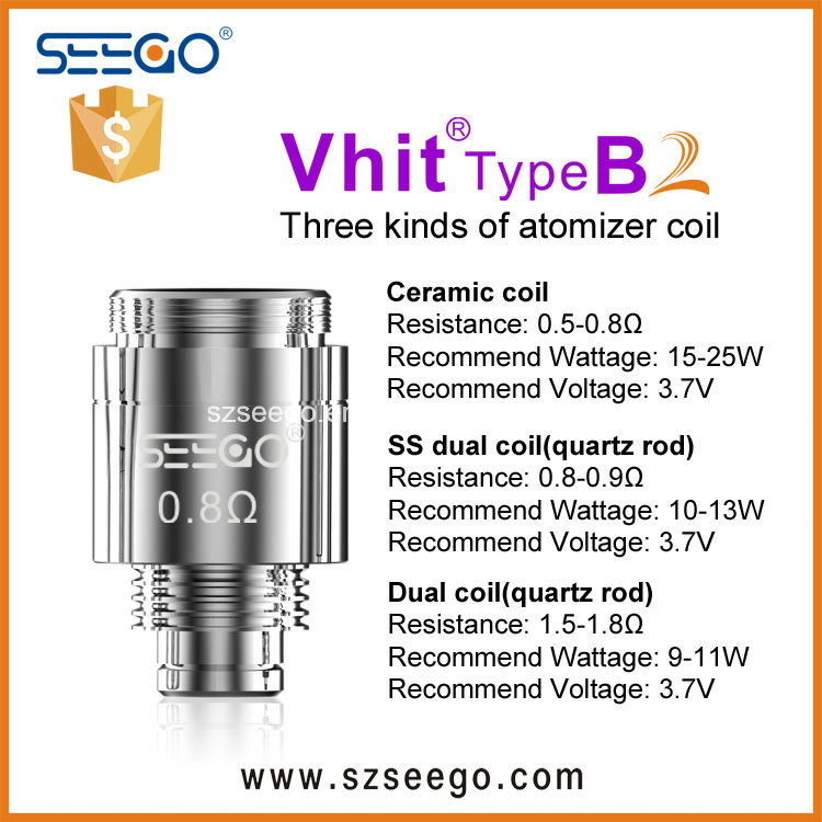 Seego Stainless Steel Dual Coil Atomizer New Upgrade Design for Thick Oil