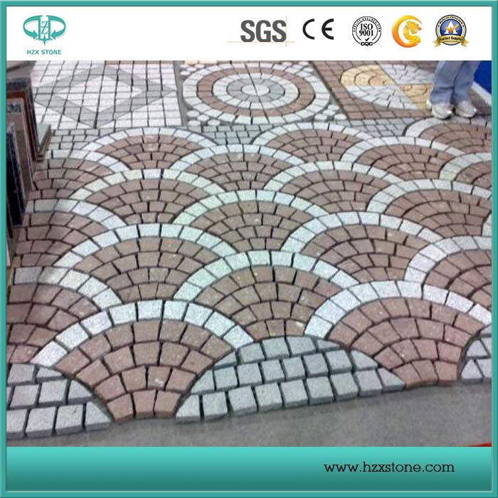 Red Porphyry Stone on Mesh, Cobble Stone, Natural Stone Paver