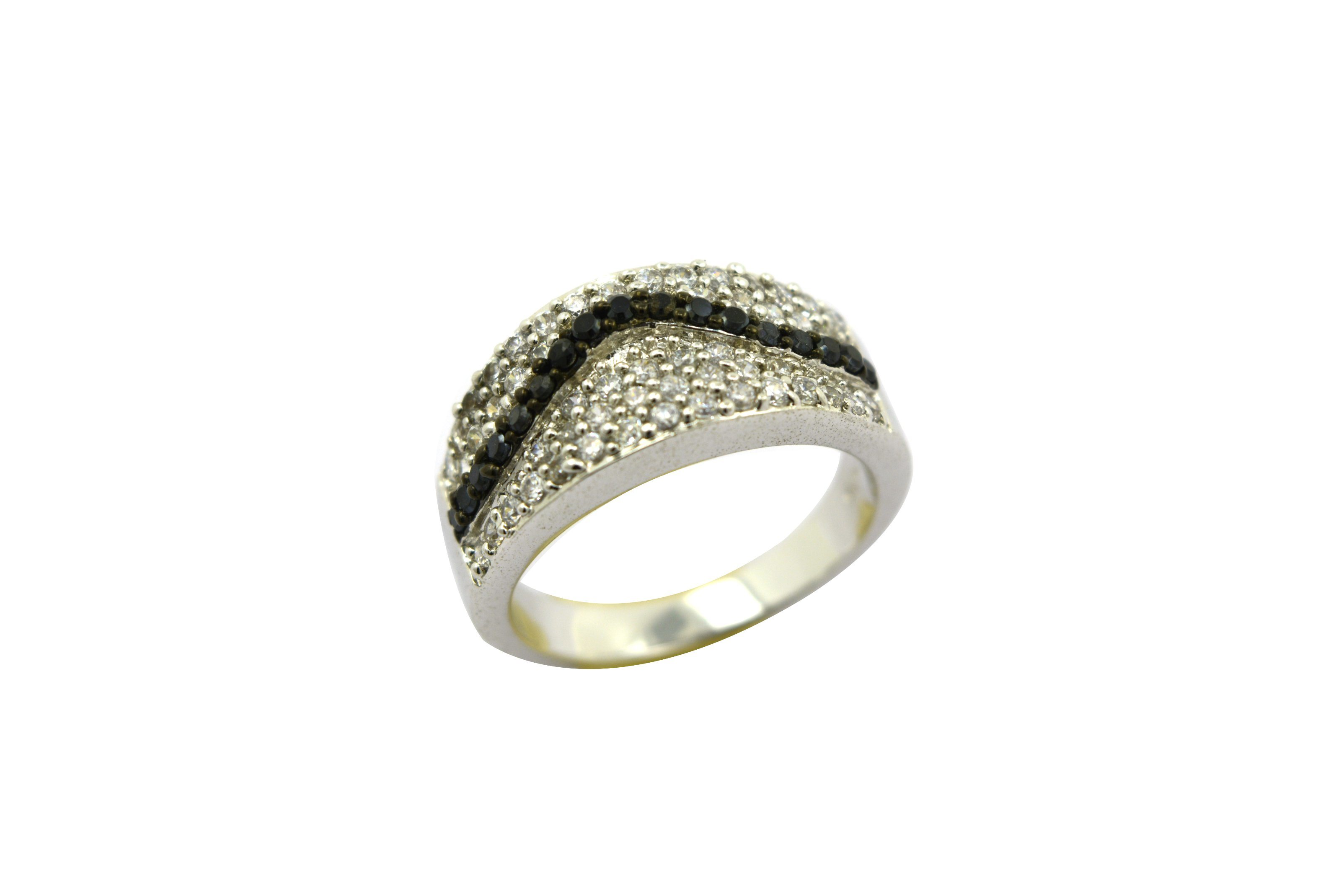 925 Sterling Silver CZ Inlay Ring Jewellery