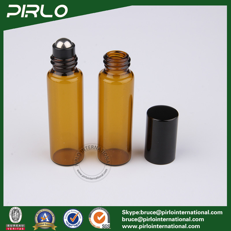 5ml Amber Color Essential Oil Roll on Bottle with Stainless Steel Roller and Black Cap