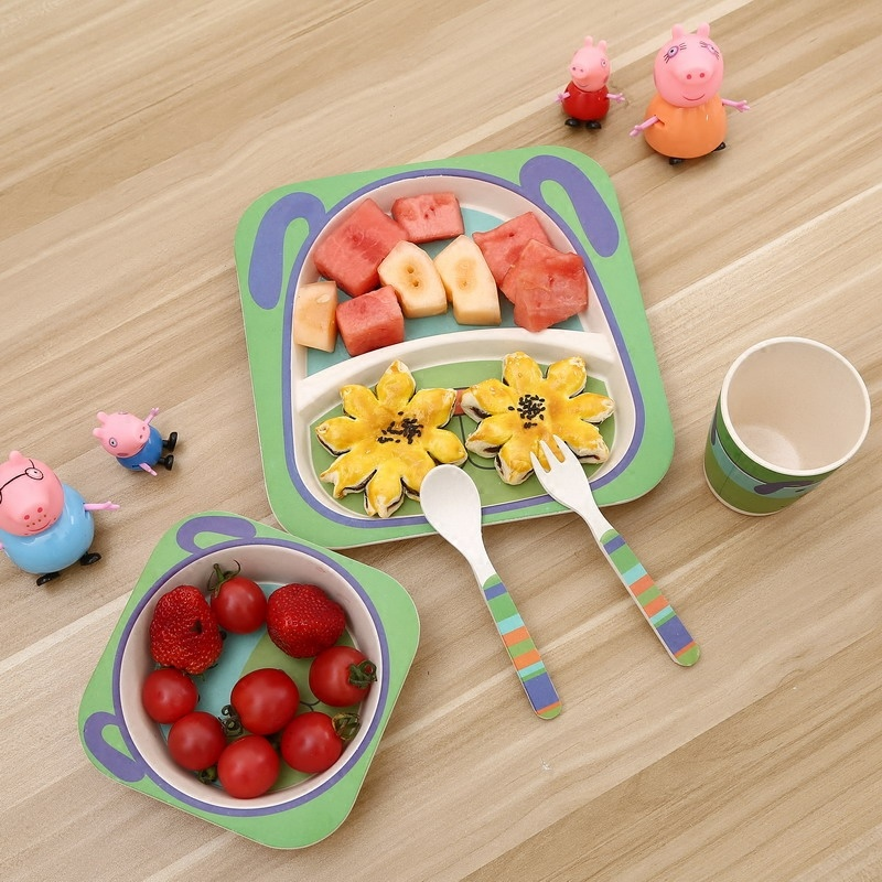 Eco-Friendly New Design Biodegradable Bamboo Fibre Cute Square Kids Tableware (YK-BS1002)