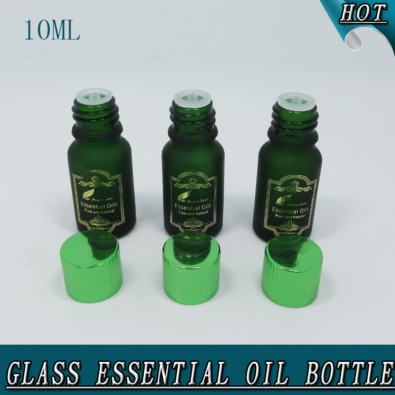 10ml Dark Green Hot Stamping Frosted Glass Bottle for Essential Oil