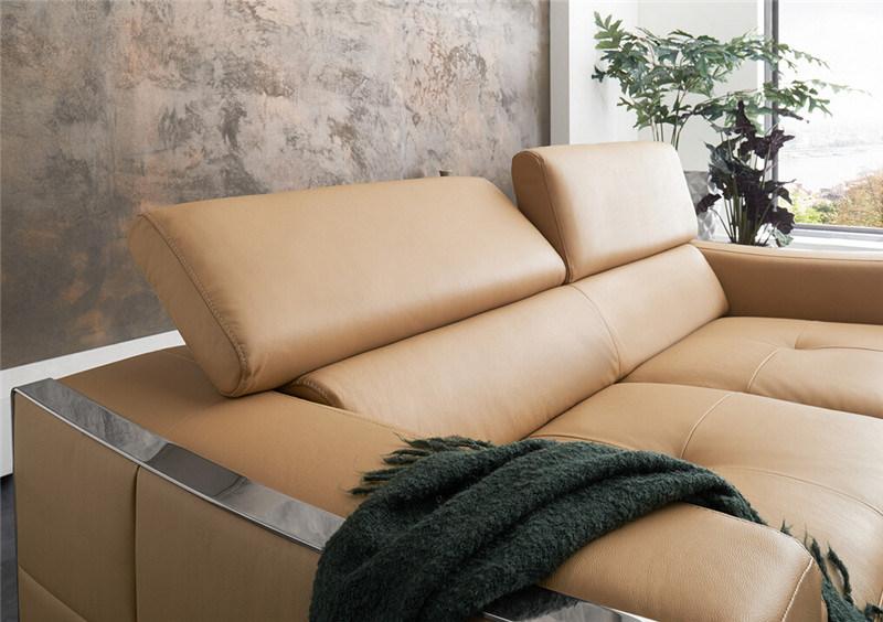 Modern Corner Sofa with Genuine Leather Living Room Sofa