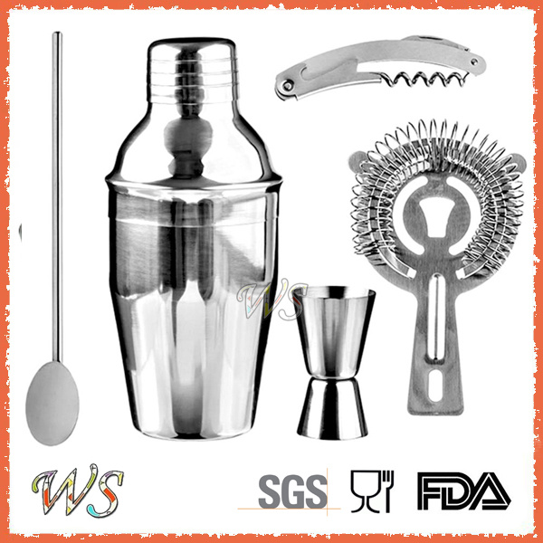 Ws-C01 Custom Logo 5-Pieces 350ml Stainless Steel Cocktail Shaker Bar Set