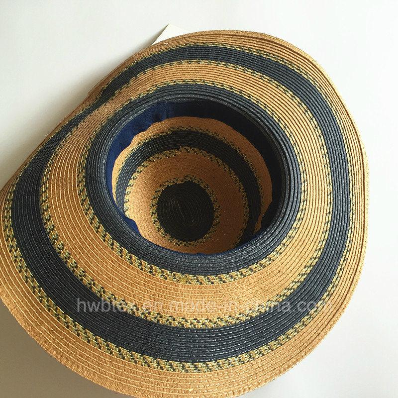 Fashion Big Women Summer Hat Sun Wide Brim Paper Straw Hat with Round Stripe (HW06)
