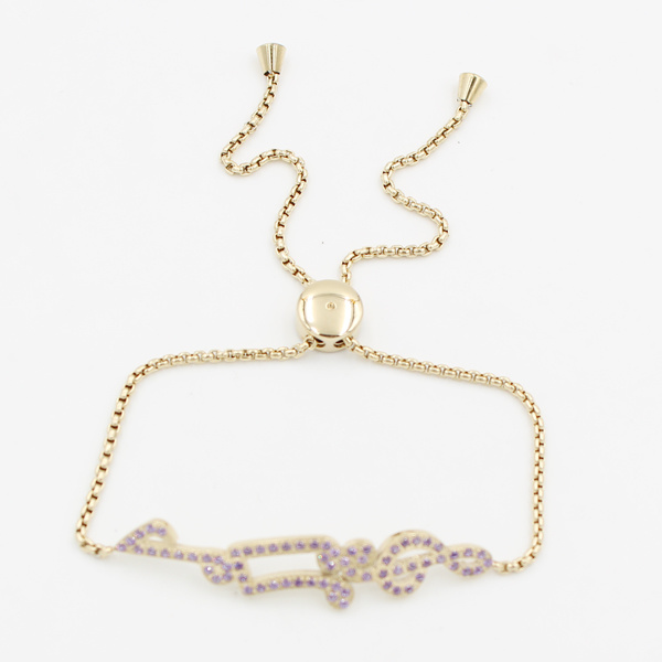 CNC Stones Charm Bracelet with Adjustable Chains for Fashion Jewelry Gift
