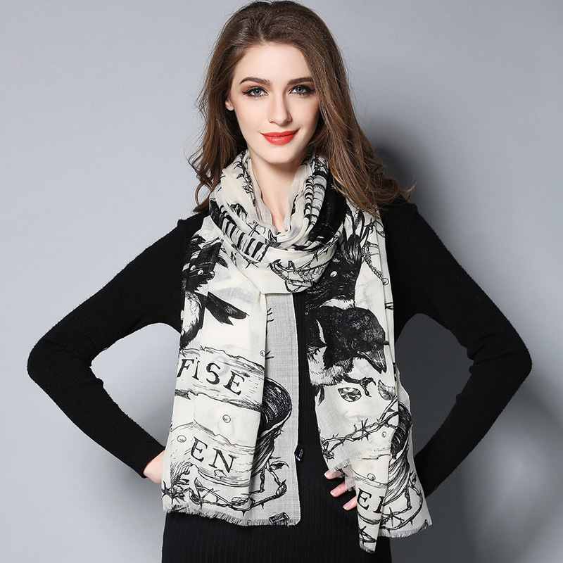 Digital Printing Black and White Wool Scarf