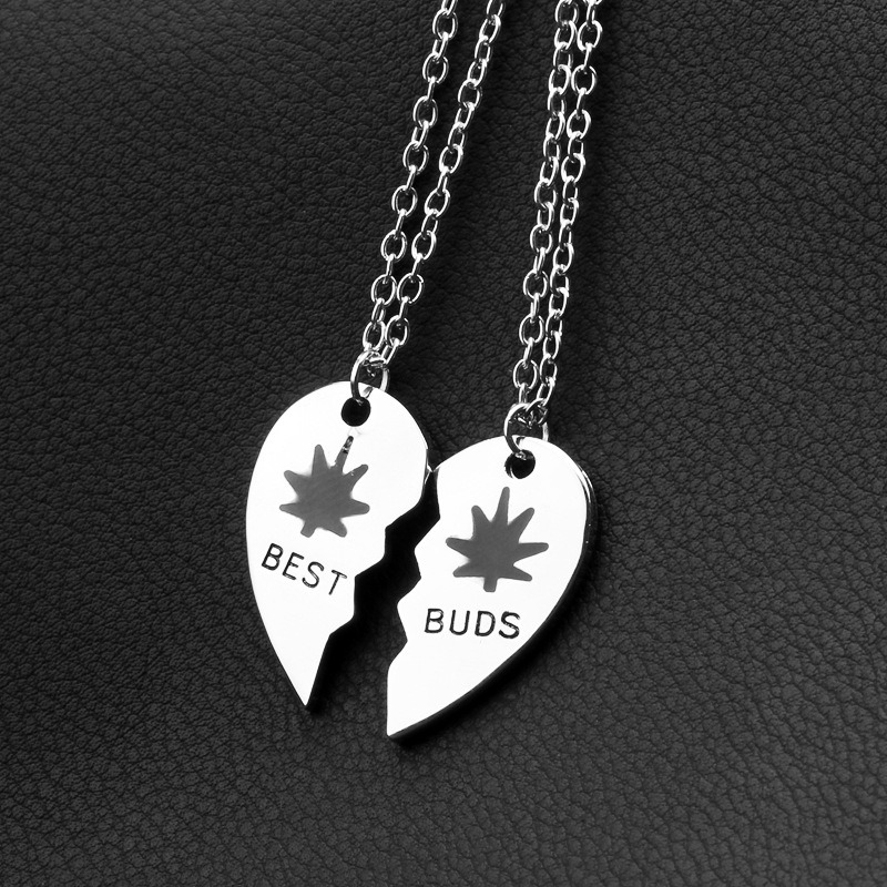 Promotional Gift-Best Buds/Friends Weed Leaf Pendant Necklace Metal in Gold&Silver Color
