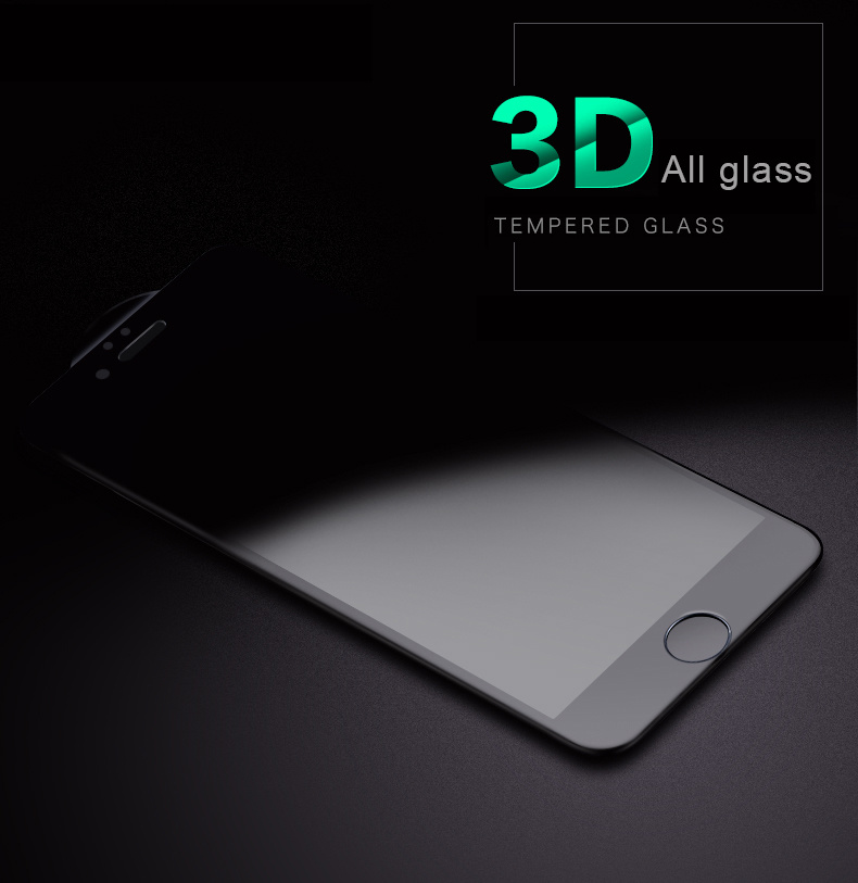3D Full Cover Mobile Phone Accessories Tempered Glass Screen Protector for iPhone 7