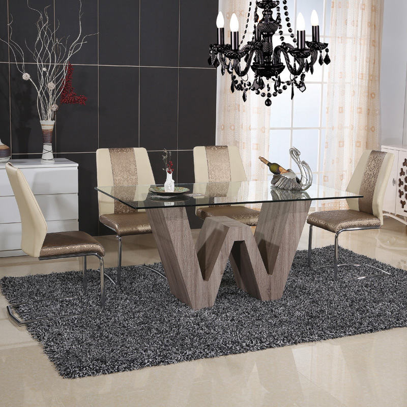 Stainless Steel Square Dining Room Glass Painted Table (ET66 & EC51)