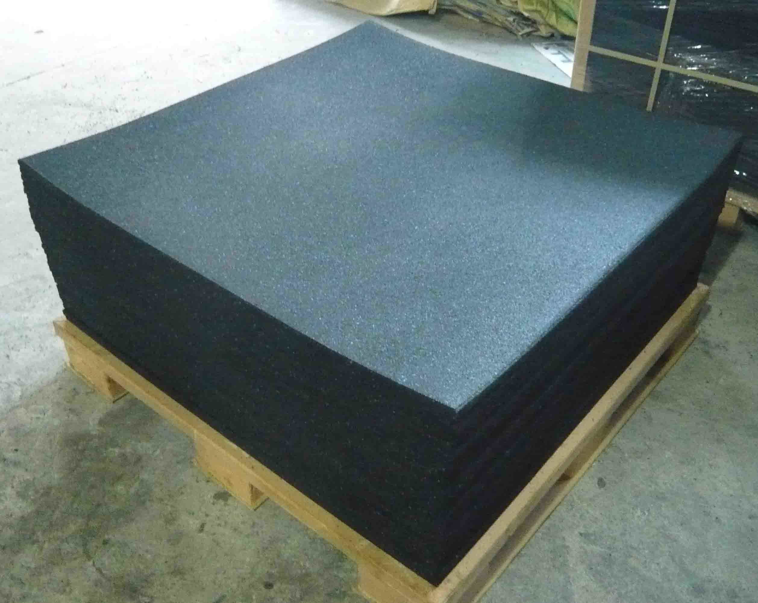 1000x1000x15mm Black With Speckle Rubber Gym Flooring