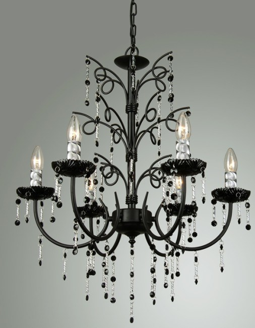 China Black Crystal Chandelier Pendant Light 9259 6P