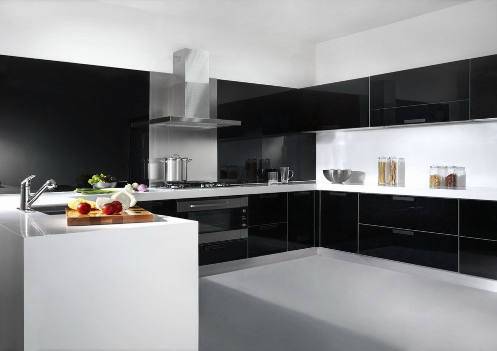China Glass Lacquer Door Kitchen Cabinet China Kitchen